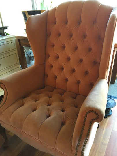 This is one of Kate's favorite pieces: a dusty rose vintage chair
